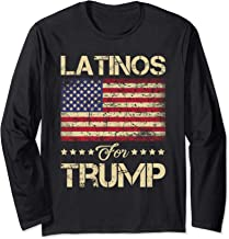 Latinos For Trump Stars and Stripes American Flag Long Sleeve T-Shirt