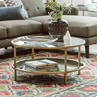 Contemporary Bella Collection Gold Metal Glass Round Coffee Table With Shelf