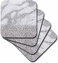 3dRose cst_268850_2 Luxury Grey Silver Gem Stone Marble Glitter Metallic Faux Print, Set of 8 Soft Coasters