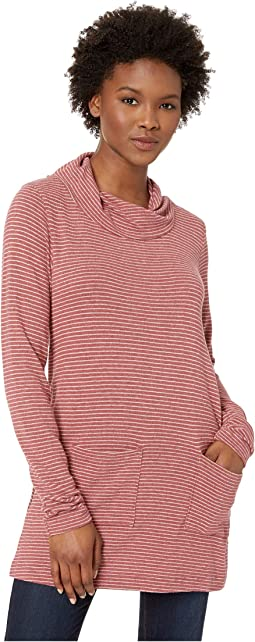 Heathered Stripe Sweater Twist Collar Patch Pocket Tunic