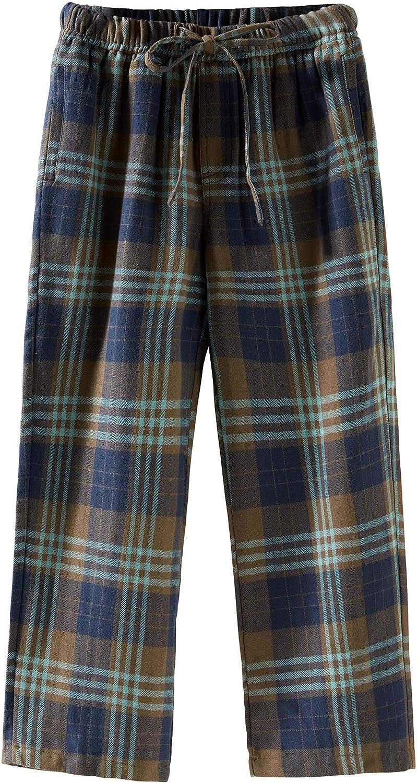 Pantalon de Sommeil D/écontract/é 100/% Coton pour Enfants Spring/&Gege Bas Pyjama de Flanelle /à Carreaux Gar/çon