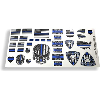 Police Blue Line 1:10 Scale Sticker Sheet Remote Control R/C Car Truck Body Back the Blue Graphics Decal
