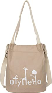 Iswee Women Tote Bag Canvas Shoulder Purse Cross body Handbags for School and Traveling bucket bags for women Bucket Bag