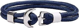 Nautical Rope Bracelet Men and Women Anchor Bracelet Navy Blue Braided Nylon Cord Wristbands