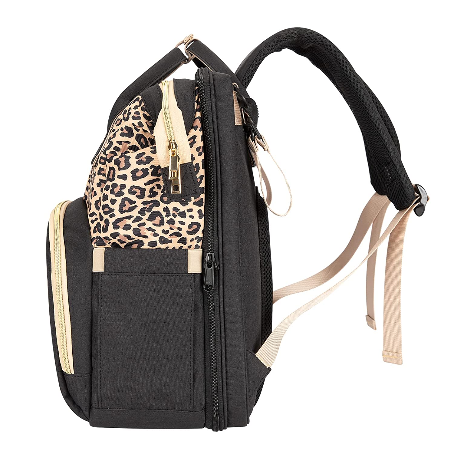 Best BB Diaper Bag Backpack with Changing Station and Charging Port, Travel Foldable Baby Bed/Portable Bassinet, Multi-Function Large Capacity Baby Bag, Waterproof, Stroller Straps, Leopard