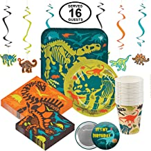 Dinosaur Dino Party Supplies Birthday Party Tableware for 16 Large Party Pack Includes Dinner Plates, Dessert Plates, Larg...