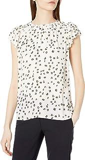 Amazon Brand - Lark & Ro Women's Georgette Lightweight Short Sleeve Split Neck Ruched Flutter Sleeve Blouse