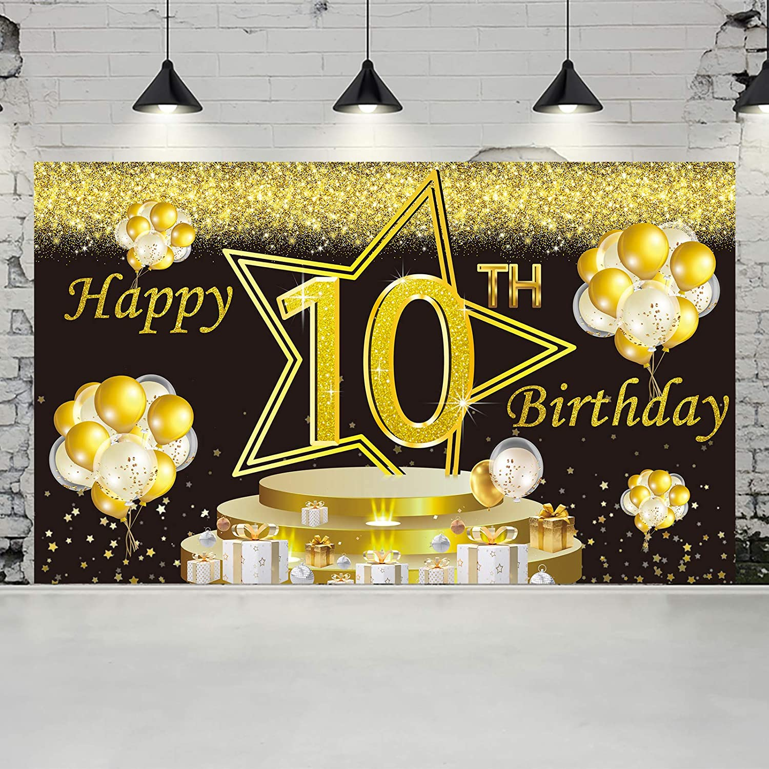 Gold and Black Ushinemi Happy 18th Birthday Backdrop 18 Years Old Birthday Banner Party Decorations Large Bday Wall Decor Signs 6X3.6 Ft