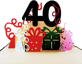 iGifts And Cards Happy 40th Birthday With Lots of Presents 3D Pop Up Greeting Card - Awesome, Cute, Fun, Unique, Special Occasion, Half-Fold, Celebration, Husband, Wife, Best Friend, Congratulations