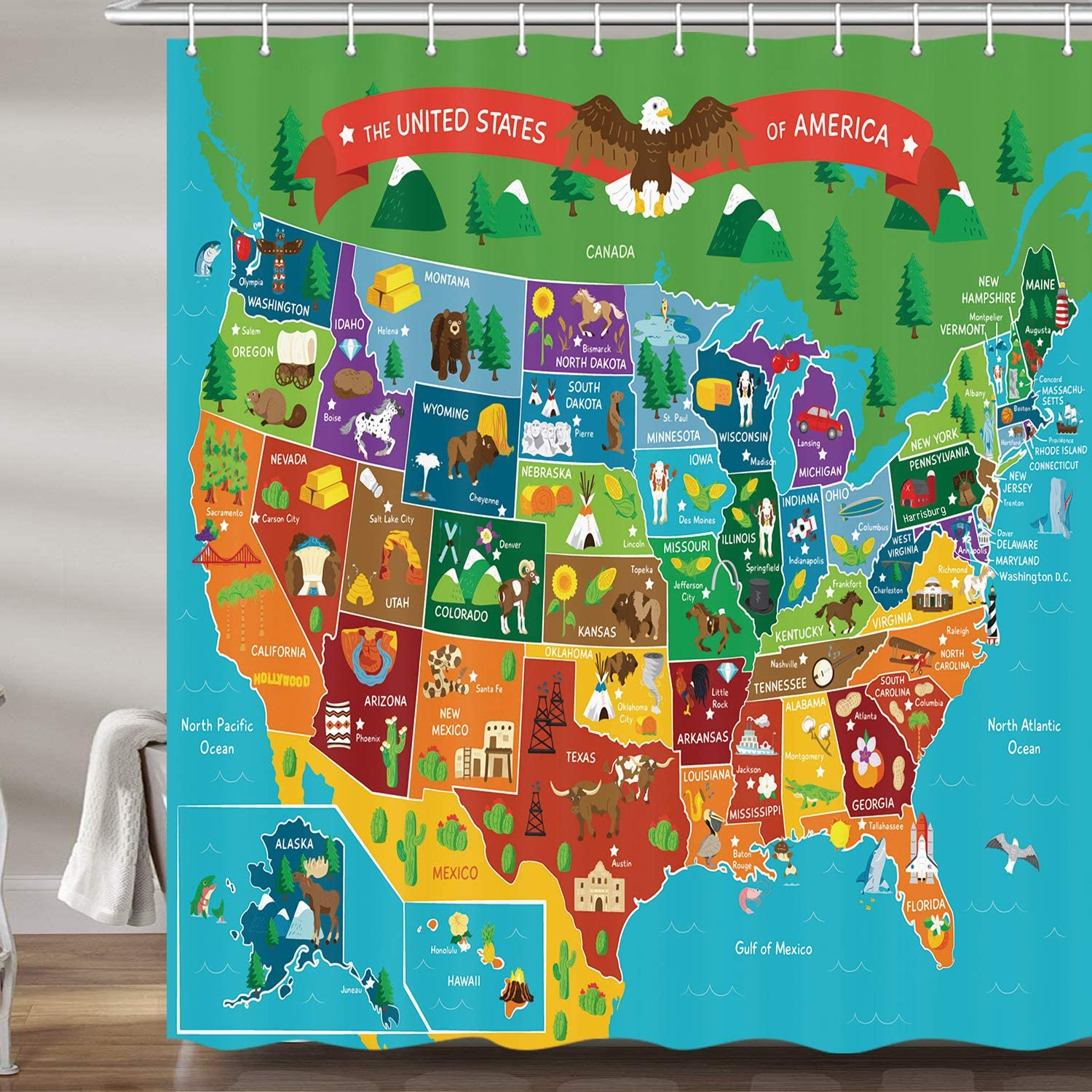 united states map with Amazon.com: JAWO Kids Cartoon United States Map Shower Curtain for