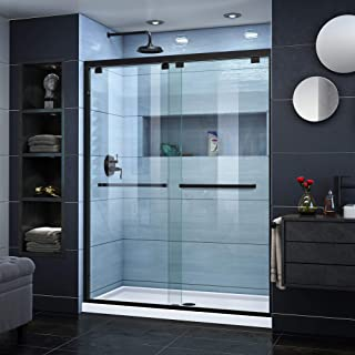 DreamLine SHDR-1660760-09 Encore Bypass Sliding Shower Door in Satin Black Finish, 56-60