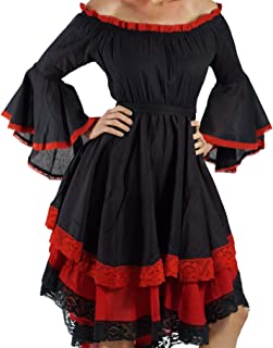 Black/Red Lace Dress Long Sleeve Gypsy Pirate Wench Dress