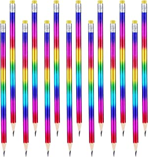 48 Pieces Rainbow Color Pencils Colorful Wood Pencils Bright Round Pencils with Eraser Top for Home Office School Classroo...