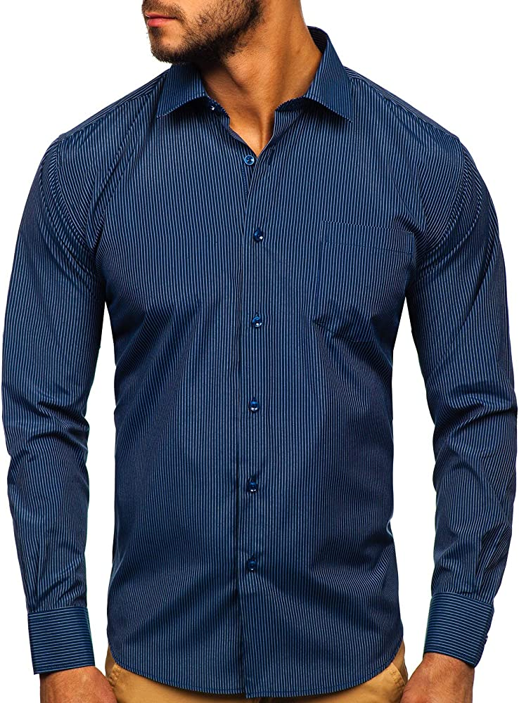 Bolf, camicia elegante a righe da uomo , a manica lunga , 65% cotone, 35% poliestere LAVIINO NDT9