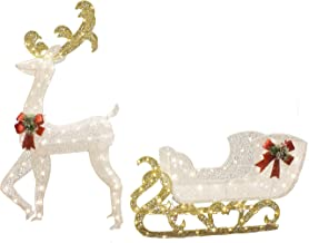 """48/"""" Lighted Sleigh Grapevine Christmas Outdoor Yard Decoration Starry Night Sled"""