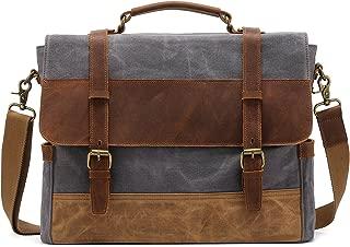 Men's Leather Canvas Messenger Bag Briefcase Retro Satchel Shoulder Bag