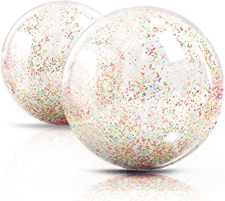 Novelty Place Inflatable Clear Sports Beach Balls with Rainbow Sequin Glitter & Confetti - Summer Beach Pool Party Toy Vol...