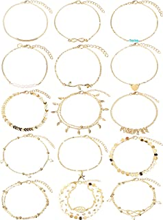 Yaomiao 15 Pieces Boho Anklets Chains Bracelets Adjustable Beach Anklet Foot Jewelry Set for Women Girls