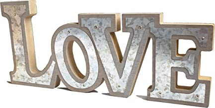 GIFTME 5 Wooden Love Signs Rustic Home Decorative Wood&Galvanized Standing Cutout Word Table Signs for Wedding Decor 13inch