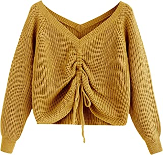 MAKEMECHIC Women's Drawstring Knot Casual V Neck Pullover Sweater Crop Top