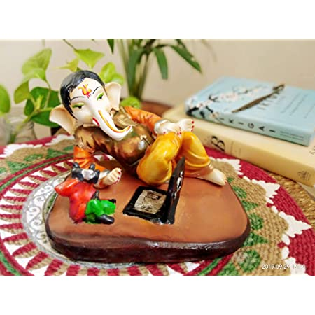 House of Crafts Resin Handcrafted Shri Ganesha Doing Working Business on Laptop for Home Decor Decorative Showpieces Office House Decoration Traditional Ganpati Sculpture Modern Art Diwali Gift 22 cm