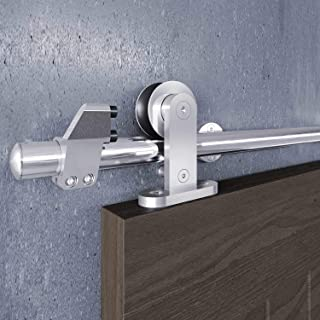 EaseLife 5 FT Modern Stainless Steel Sliding Barn Door Hardware Track Kit,Top Mount,Anti-Rust,Slide Smoothly Quietly,Easy ...