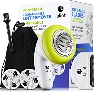 Electric Lint Remover Clothes Shaver Kit, Twist Handle & Large Shaving Head, USB Rechargeable, Cordless, Floating Blades | With Bonus Fabric Fuzz Comb, 2 Spare Blade, Travel Bag & Cleaning Brush