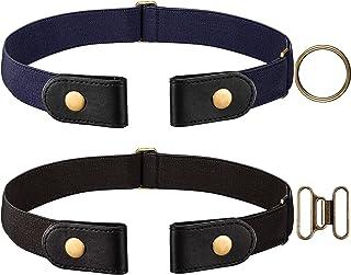 Cinturón Elástico Negro y Azul Marino 2 Piezas (Sin Hebilla) con Cierre de Latón y un par de Hebillas de Latón Marrón