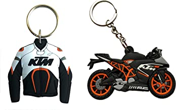 AVI Jacket Design Double-Sided Rubber KTM Duke 125 RC Keychain (Multicolour) -Combo Pack of 2 Pieces