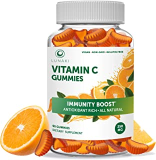 Lunaki Vitamin C Gummies for Adults & Kids- Organic VIT C Vegan Chewable Gummy Vitamins - 250mg Adult Chews 30 Day Supply