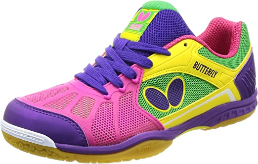 Butterfly Lezoline Rifones Shoes - Table Tennis Shoes for Men or Women - Athletic Support, Flexibility, Shock Absorbing Cushion, Gripping Ping Pong Shoe, Pink, 10