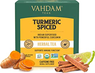 Sponsored Ad - VAHDAM, Organic Turmeric Spiced Herbal Tea (30 Tea Bags) | USDA Certified Organic Blend of Turmeric Powder ...
