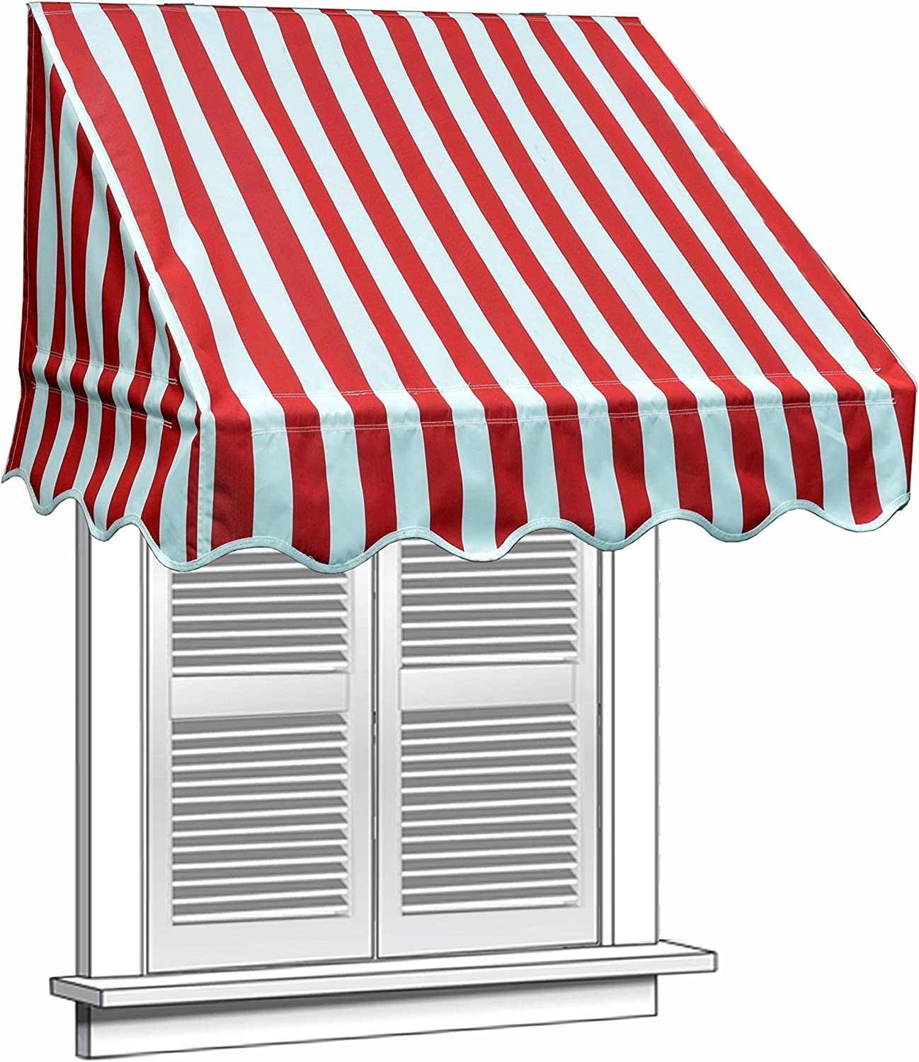 ALEKO 4x2 Feet Multiple Popularity Stripes Red Awning Window Door 4- Max 48% OFF Canopy