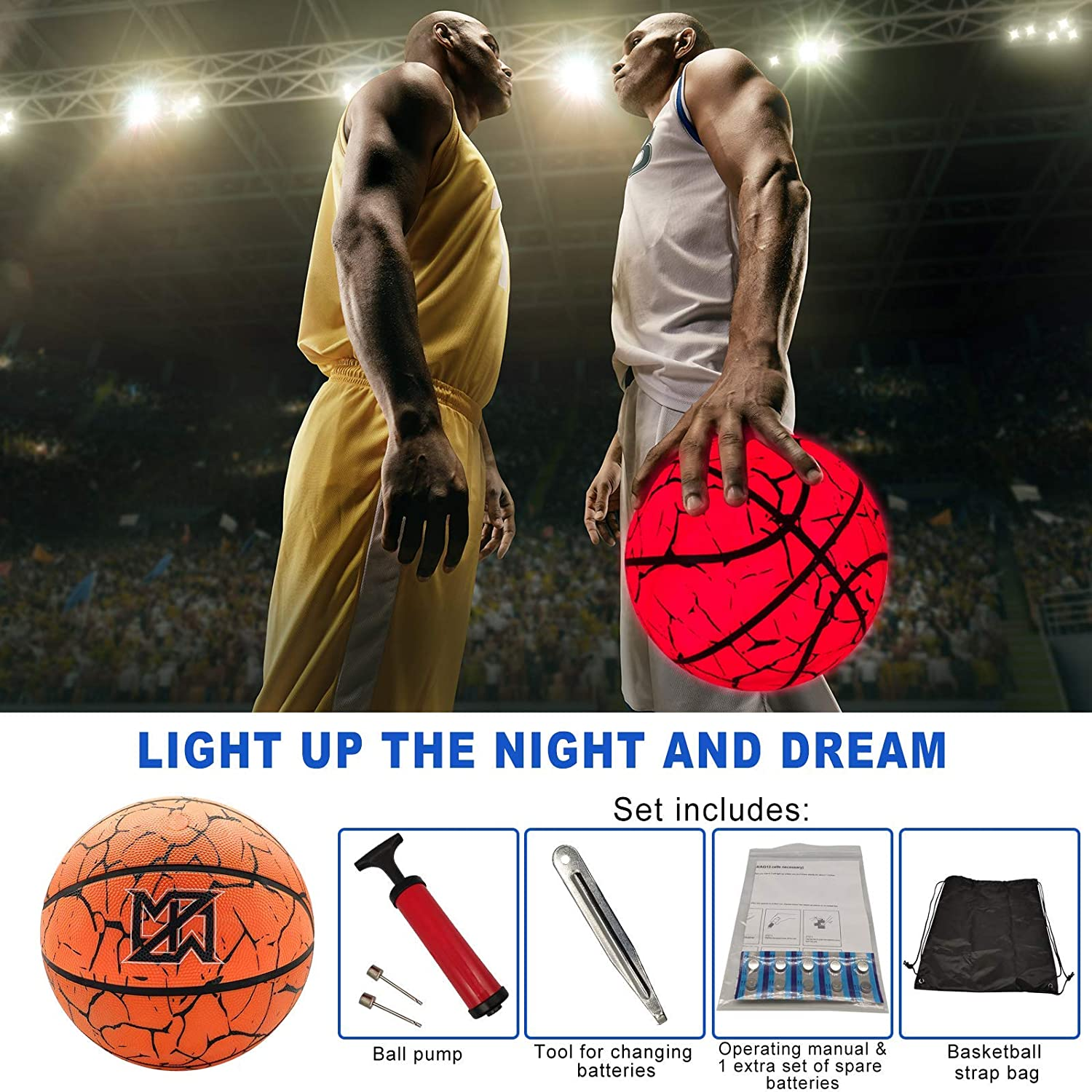 Light Up Basketball Night Light Waterproof Glow Basketball with Two High Bright LEDs Perfect Glow in The Dark,Official Size/& Weight with Pump for Man Teen Boy for Gift Toys