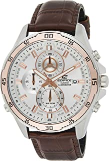 Casio Edifice Men's White Dial Leather Chronograph Watch - EFR-547L-7AVUDF