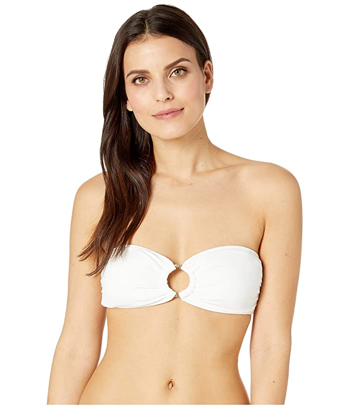 MICHAEL Michael Kors Iconic Solids Logo Ring Bandeau Top (White) Women