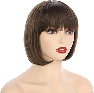 "OneDor 10"" Short Straight Hair Flapper Cosplay Costume Bob Wig (8#-Medium Ash Brown)"