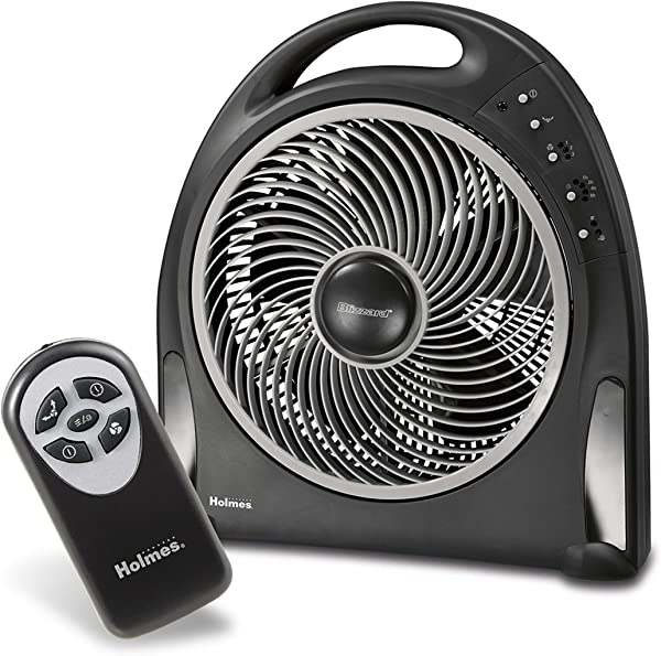 Holmes 12 Inch Fan Blizzard Rotating Fan With Remote Control Black