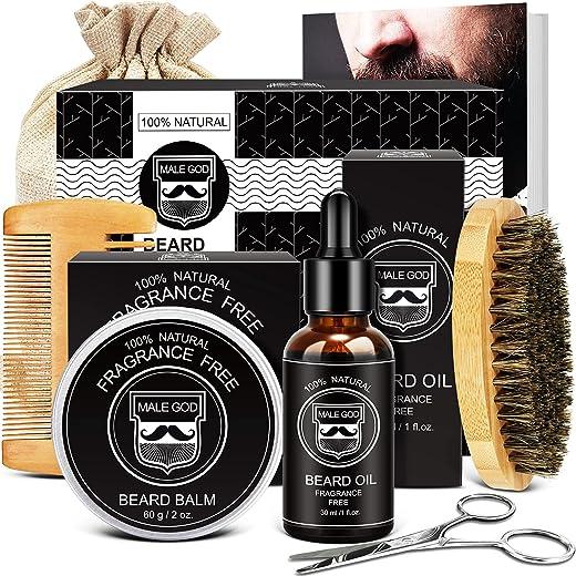 Beard Kit, Beard Grooming Kit for Men Gifts, Natural Organic Beard Oil, Beard Balm, Beard Comb, Beard Brush, Beard Scissors, Gift Box and E-Book, Beard Care Beard Gifts For Him Dad Husband Boyfriend