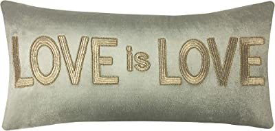 Edie At Home Celebrations Gold Embroidered Love Decorative Pillow, 12x24, Green