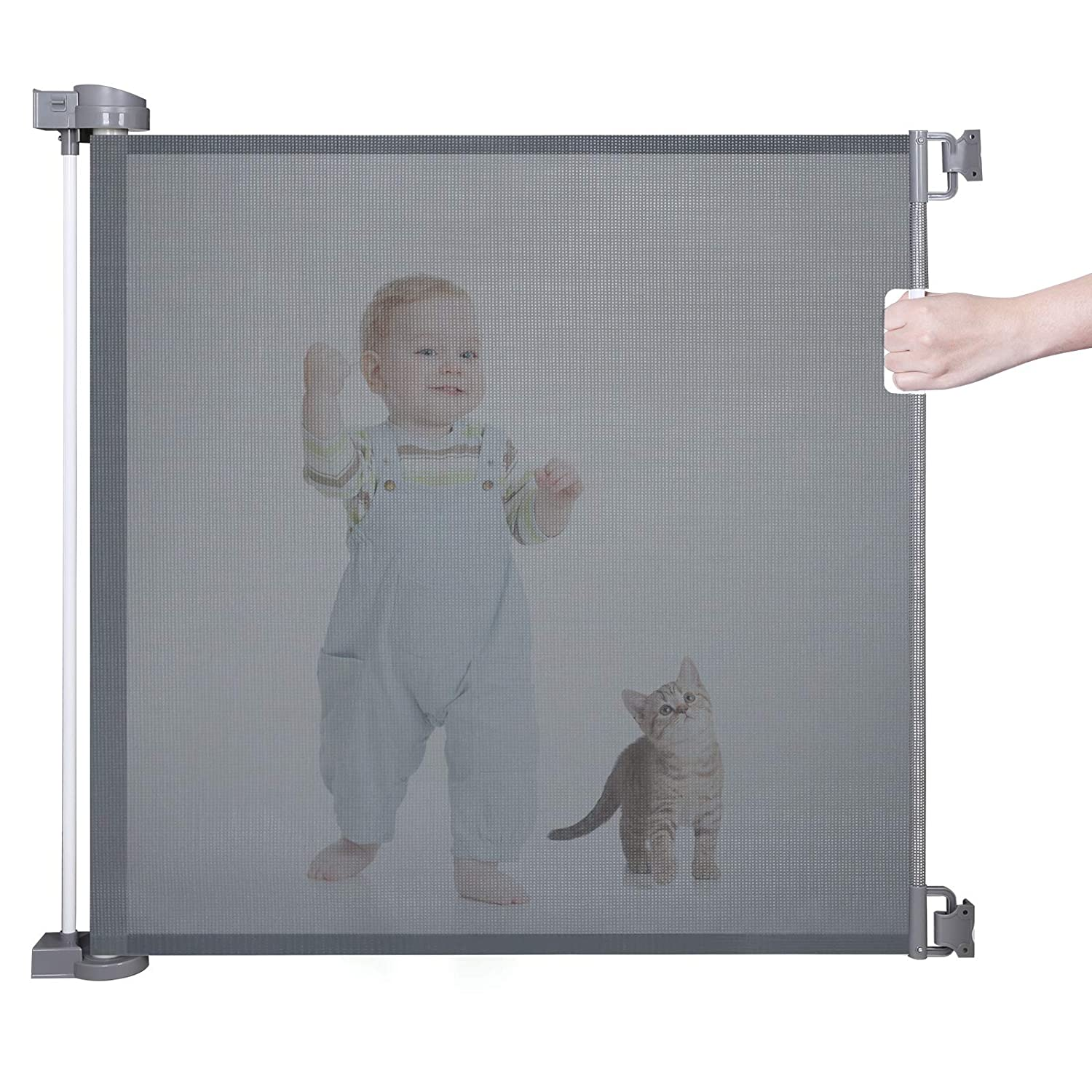 Retractable Baby Gate for Kids or Pets, Abaook Mesh Baby Safety Gate for Doorways Stairs Hallways Patios Indoor Outdoor, Child Gate Extra Wide 34