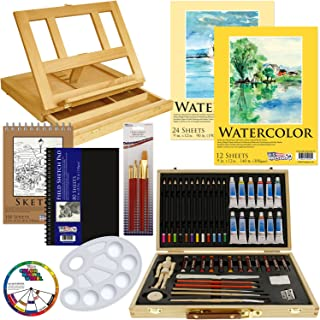 US Art Supply 60-Piece Custom Artist Watercolor Painting Set with, Wood Drawer Table Easel, 12-Tubes Watercolor Colors, 12 Colored Pencils, 2 Graphite Pencils, 12 Oil Pastels, 2-each Watercolor Paper Pads, 100-Sheet Sketch Pad, 80-Page Hardbound Sketchbook, 10 Artist Brushes, 5.5