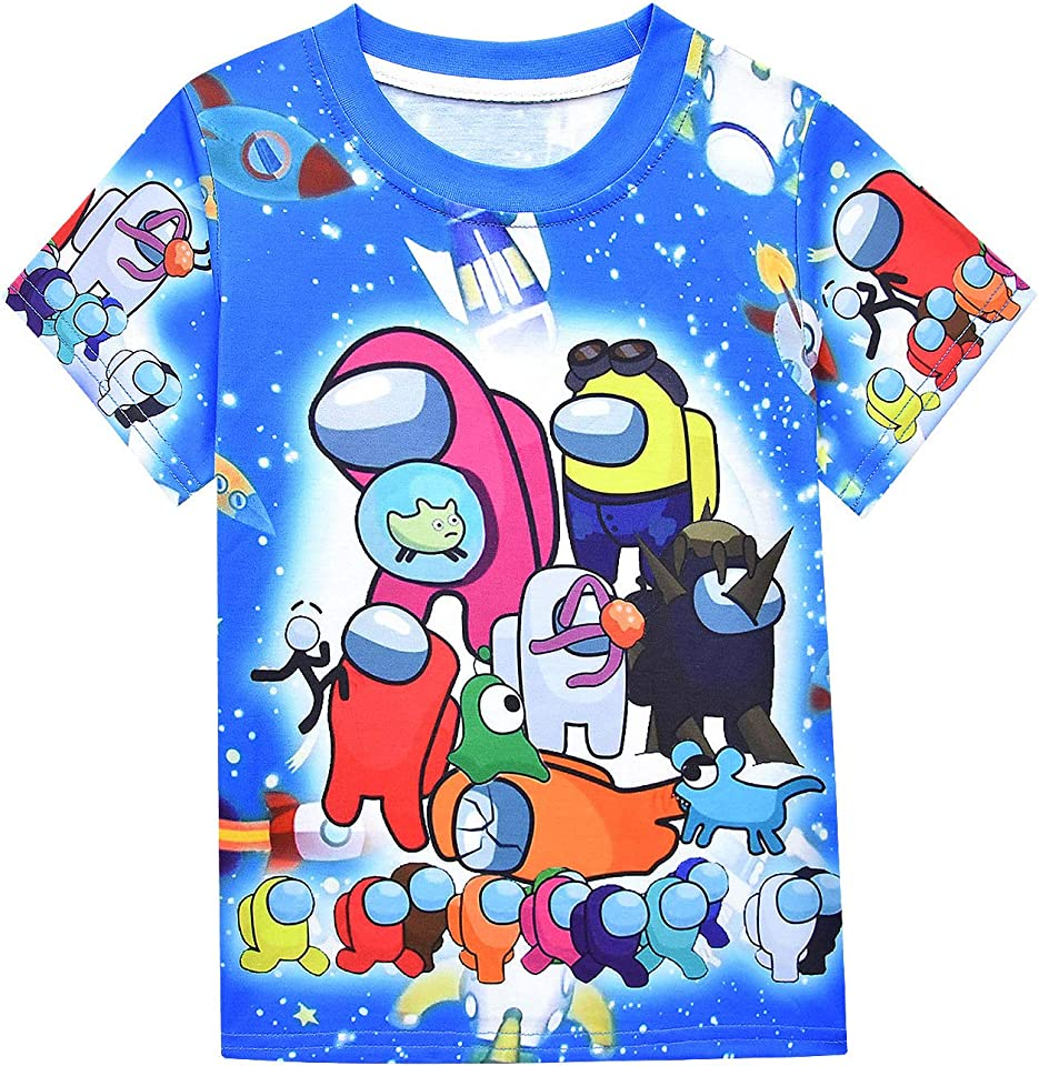 Boys Among Us Tshirts Cartoon Shirt Size 7 Kids Teens Tops Short Sleeve Girl Graphic Tee Summer Clothes Playwear Imposter Shirts Loose FIt Blue Fashion Outfits Cosplay