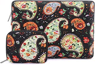MOSISO 360 Protective Laptop Sleeve Bag Compatible with 13-13.3 Inch MacBook Air, Old MacBook Pro Retina 2012-2015, Notebook with Small Case, Canvas Ripple Pattern Carrying Cover, Paisley