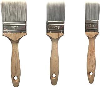 BEKATEQ Profi Lackierpinsel Set 3-tlg. mit Hartholzstiel 35mm, 50mm, 70mm - Flachpinsel Pinselset Hochwertige bombierte Mischborsten Pinsel Malerpinsel