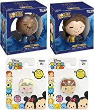 Beauty & The Beast Princess Figure Pack Belle + Beast Vinyl Figure+ Anna Elsa Frozen Tsum Cars & Stickers Bundle
