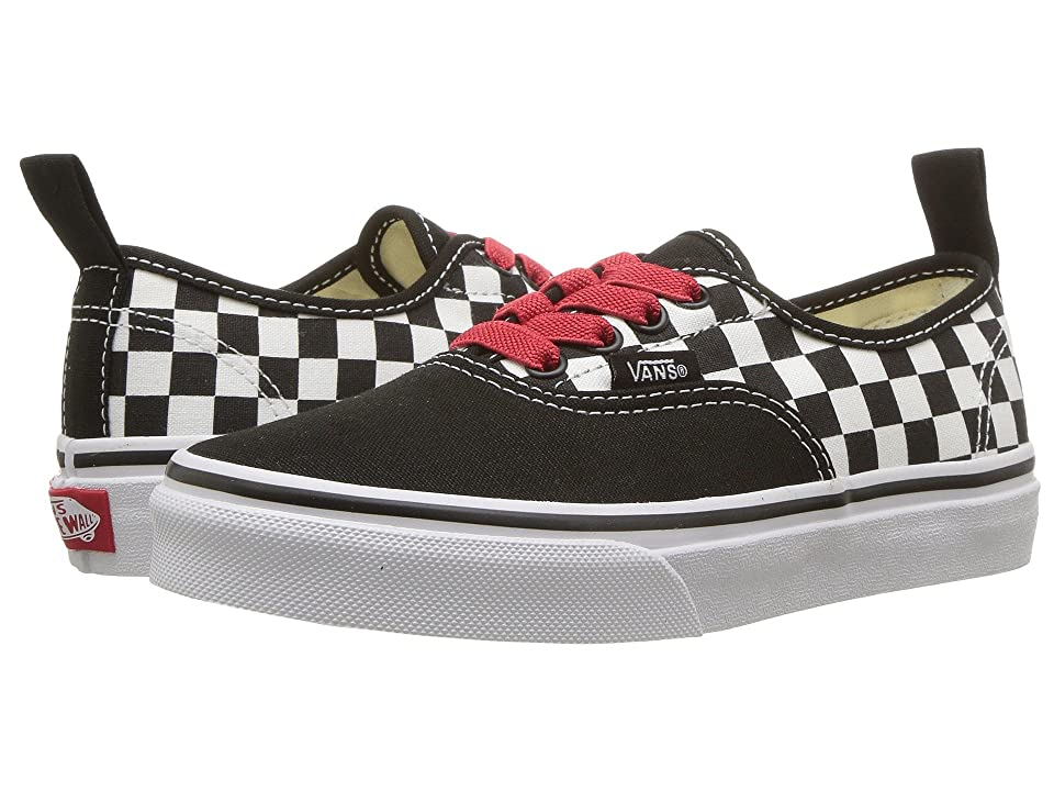 Vans Kids Authentic Elastic Lace (Little Kid/Big Kid) ((Checkerboard) Black/Red/True White) Boys Shoes