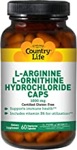 Country Life L-Arginine/L-Ornithine Caps - 1000 mg with Vitamin B6-60 Capsules - May Help Support Immune Health - Aids Uti...