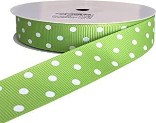 kailin 7/8 Inch Wide Apple Green Grosgrain Polka Dot Ribbons with White Dots 20 Yards