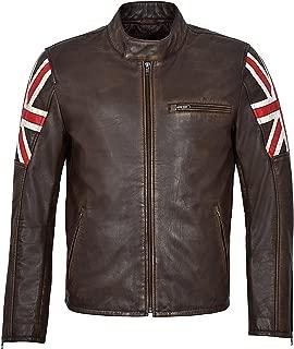 Men's Cafe Racer Vintage Brown Distressed Union Jack Biker 100% Real Leather Jacket 2525